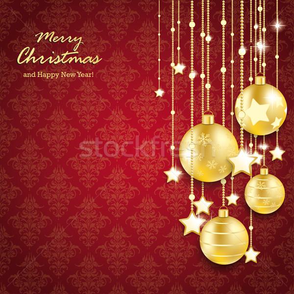 Foto stock: Dourado · natal · linhas · vermelho · eps