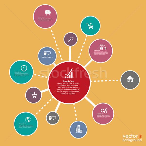 Infografika sikeres hálózatok terv citromsárga eps Stock fotó © limbi007