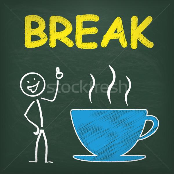 Blackboard Stickman Coffeecup Break Stock photo © limbi007