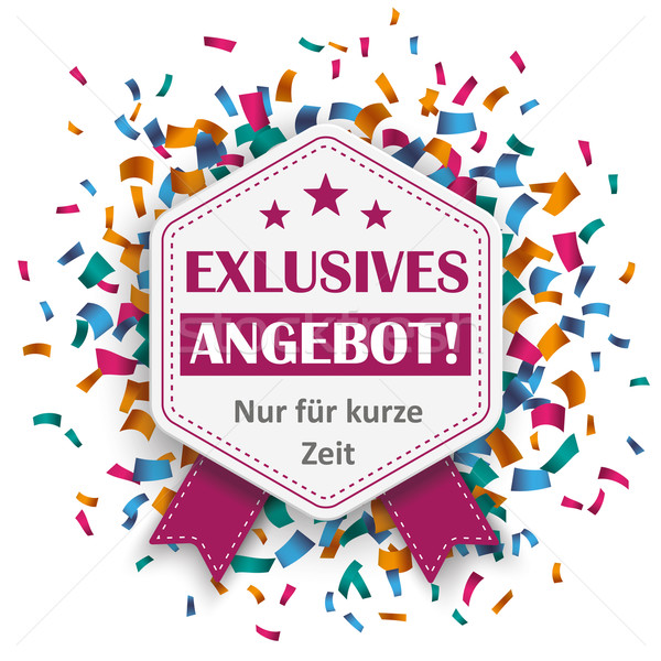 Hexagon Emblem Exklusives Angebot Confetti Stock photo © limbi007