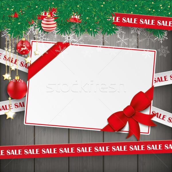 Sale Lines Christmas Gift Coupon Card Wood Stock photo © limbi007