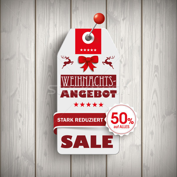 Weihnachten Price Sticker Wood Pin Stock photo © limbi007