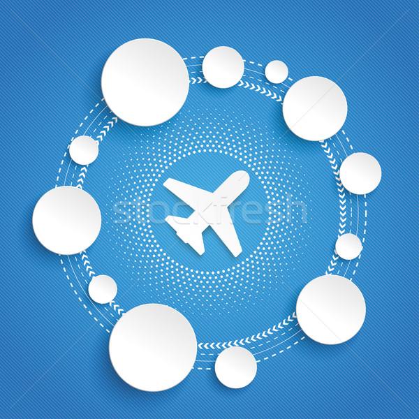 Circles Cycle Infographic Plane Halftone Stock photo © limbi007