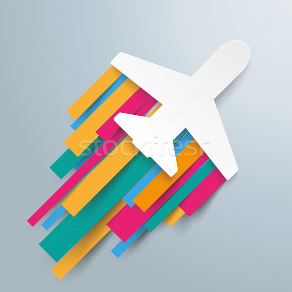 Paper Jet Colored Stripes Jetstream Stock photo © limbi007