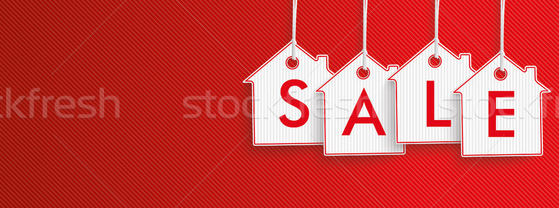 Hanging House Price Stickers Sale Header Stock photo © limbi007