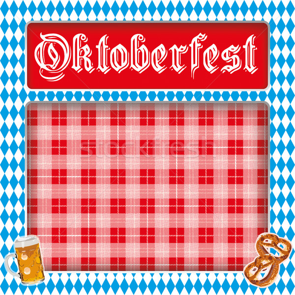 Oktoberfest Layout Bavarian Colors Red Checked Blanket Stock photo © limbi007