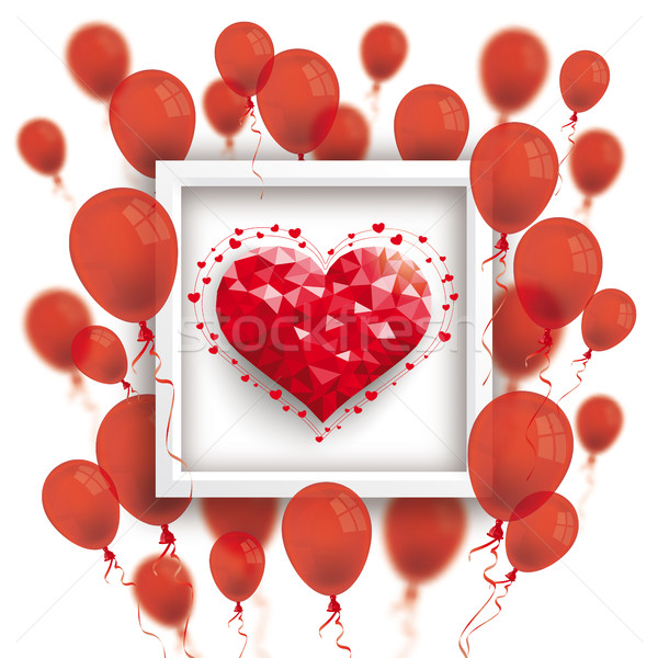 Low Poly Heart Red Balloons Frame  Stock photo © limbi007
