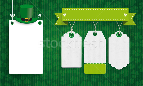 Vintage St Patricks Day Board Hat 3 Price Stickers Stock photo © limbi007