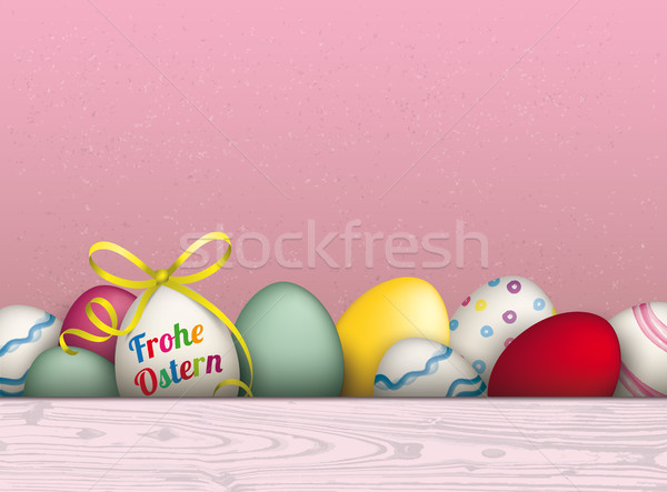 Colored Easter Eggs Pink Background Frohe Ostern Stock photo © limbi007