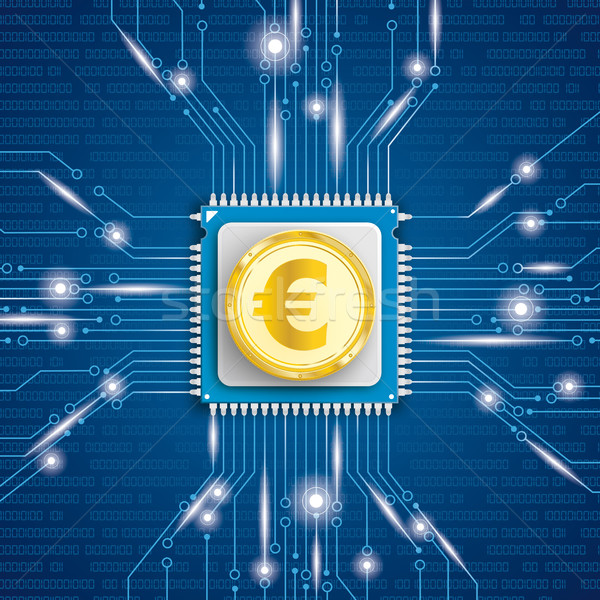 Golden Euro Coin Microchip Processor Lights Stock photo © limbi007