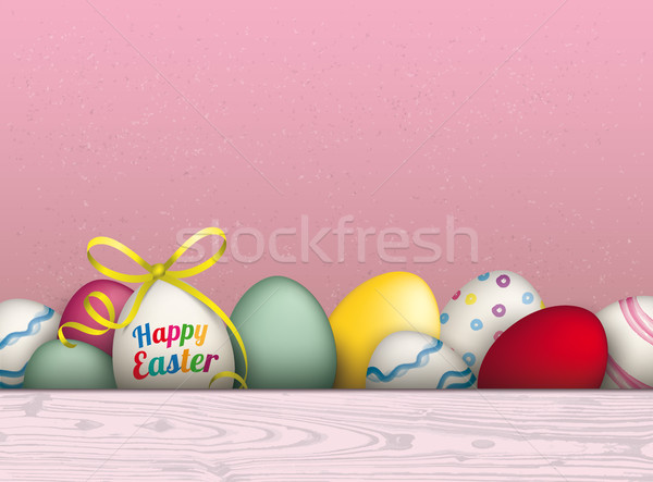 Colored Happy Easter Eggs Pink Background Stock photo © limbi007