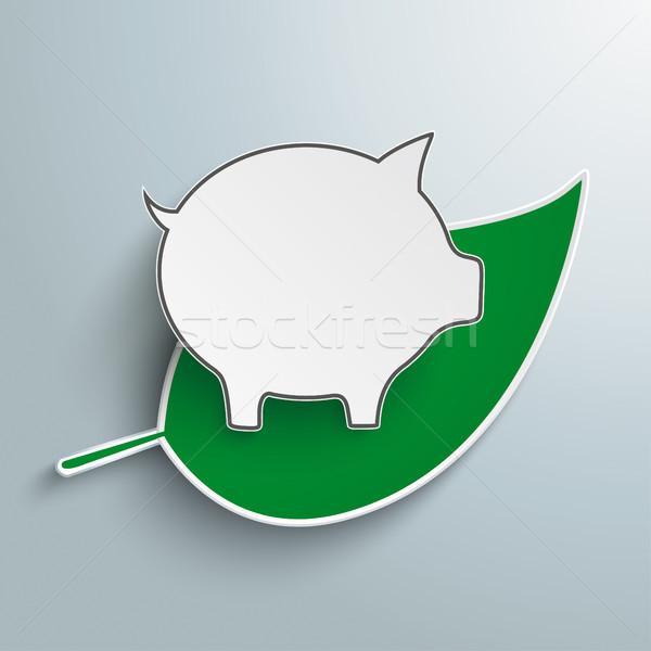 Green Leave Piggy Bank Stock photo © limbi007