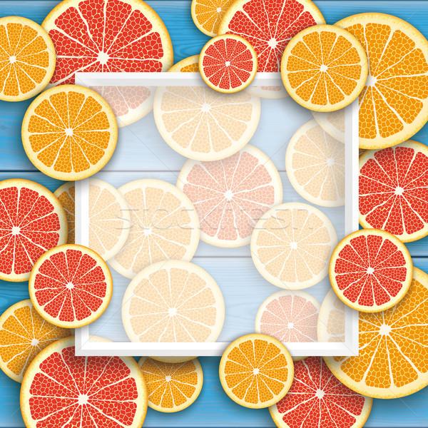 Azul madera pomelo naranja frutas marco Foto stock © limbi007