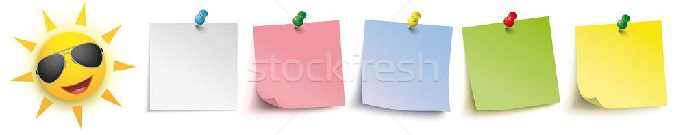 Colored Sticks Pins Header Sun Sunglasses Stock photo © limbi007