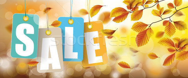 Autumn Price Stickers Sale Beech Foliage Header Stock photo © limbi007