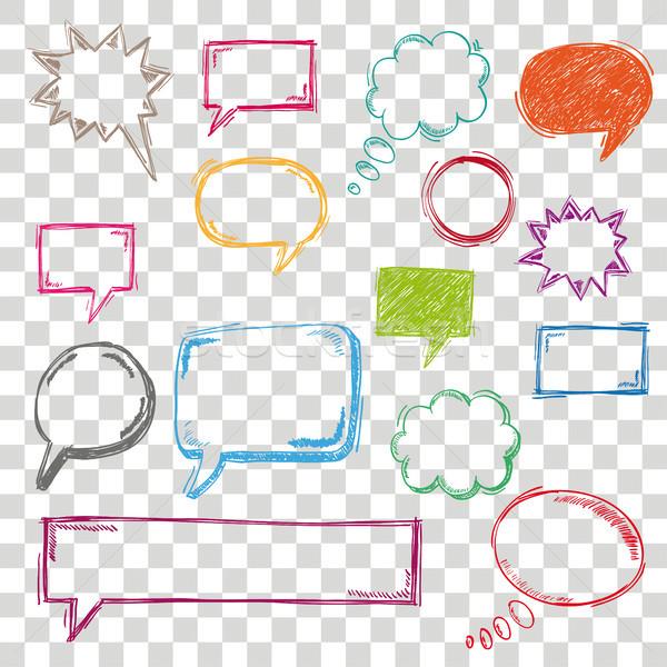 Colored Handdrawn Speech Bubble Set Transparent Stock photo © limbi007