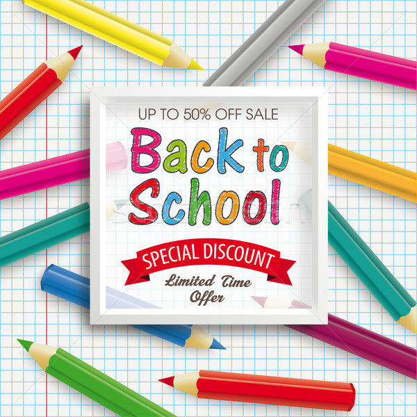 Colored Pencils Frame Checked Paper Back To School Discount Stock photo © limbi007