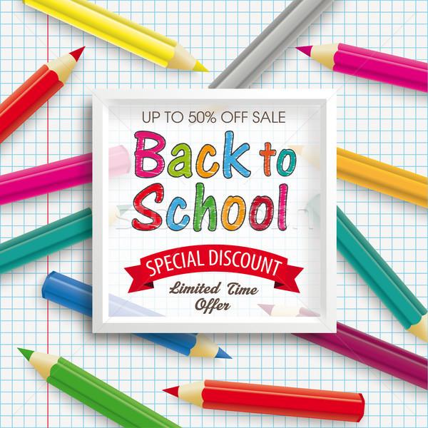 Színes ceruzák keret papír vissza az iskolába árengedmény Stock fotó © limbi007