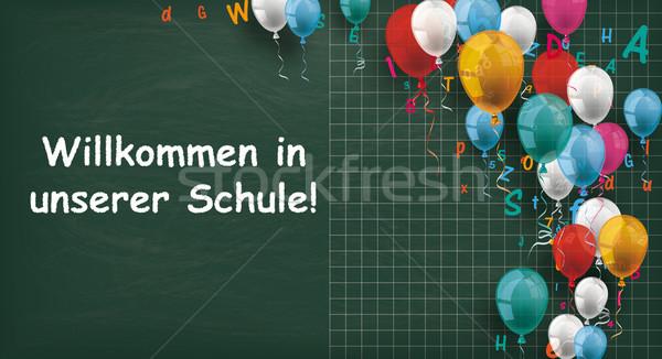 Long Blackboard Balloons Letters Willkommen Schule Stock photo © limbi007