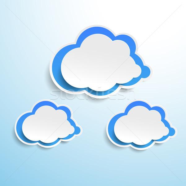 Stok fotoğraf: üç · mavi · kâğıt · bulutlar · dizayn · mavi