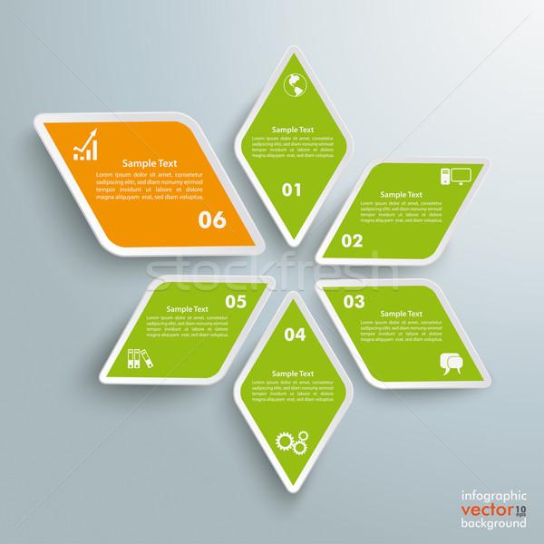 Rhombus Star Green Orange Successful One Stock photo © limbi007