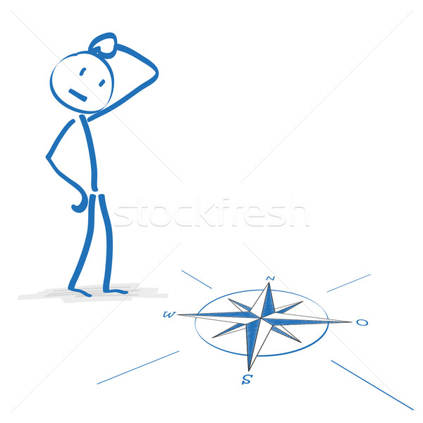 Stickmen Compass Decision Stock photo © limbi007
