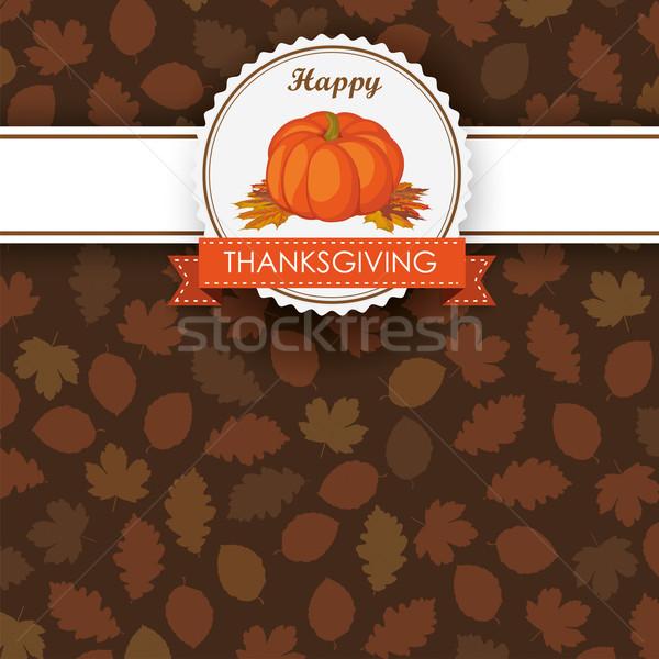Autumn Foliage Pumpkin Thanksgiving Emblem Banner Stock photo © limbi007