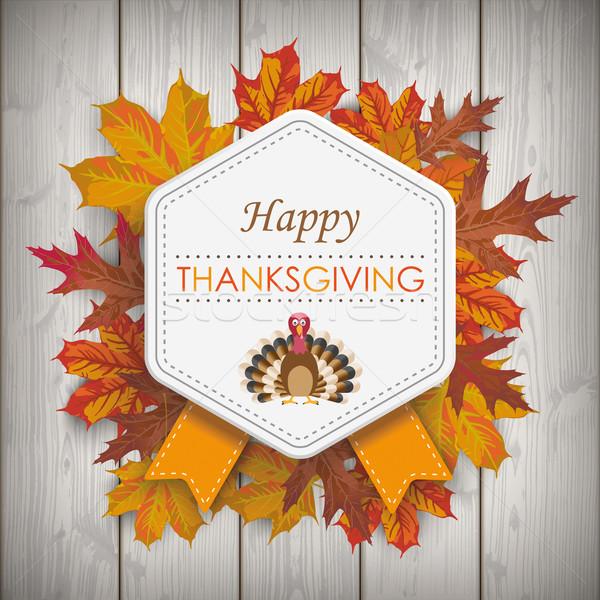 Autumn Foliage Vintage Hexagon Emblem Thanksgiving Wood Stock photo © limbi007