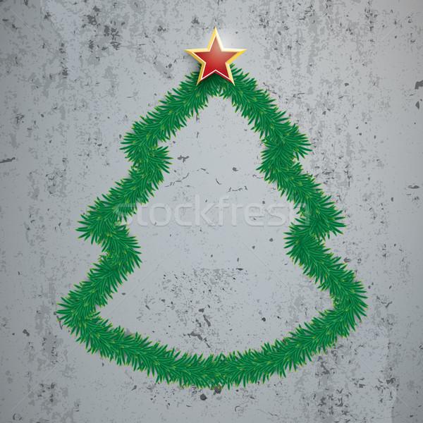 Kerstboom star beton eps 10 Stockfoto © limbi007