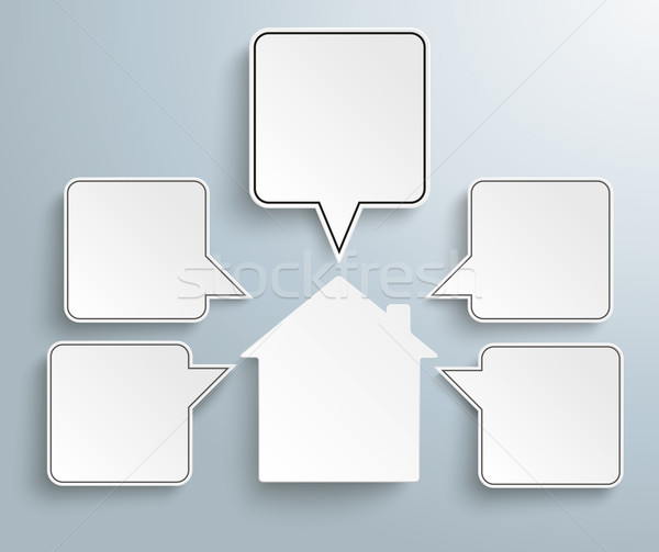 House Quadratic Speech Bubbles Stock photo © limbi007