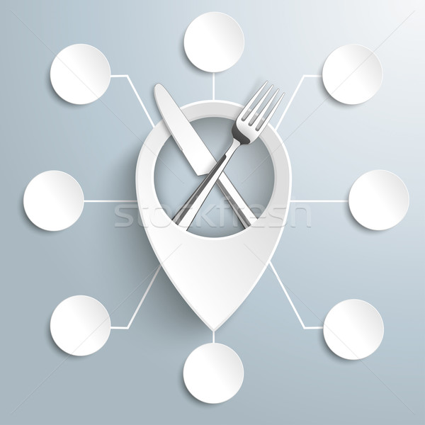 White Location Marker Knife Fork 8 Circles Stock photo © limbi007