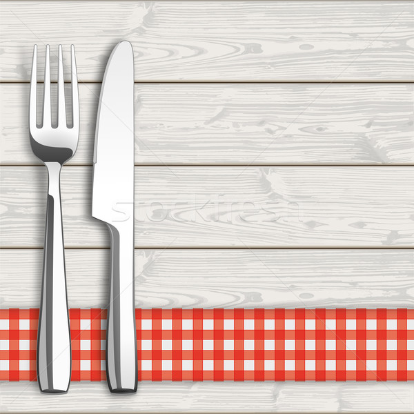 Wood Checked Table Cloth Knife And Fork Stock photo © limbi007