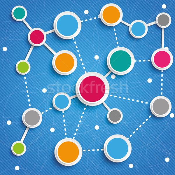 Business netwerken cirkels blauwe hemel ontwerp Stockfoto © limbi007