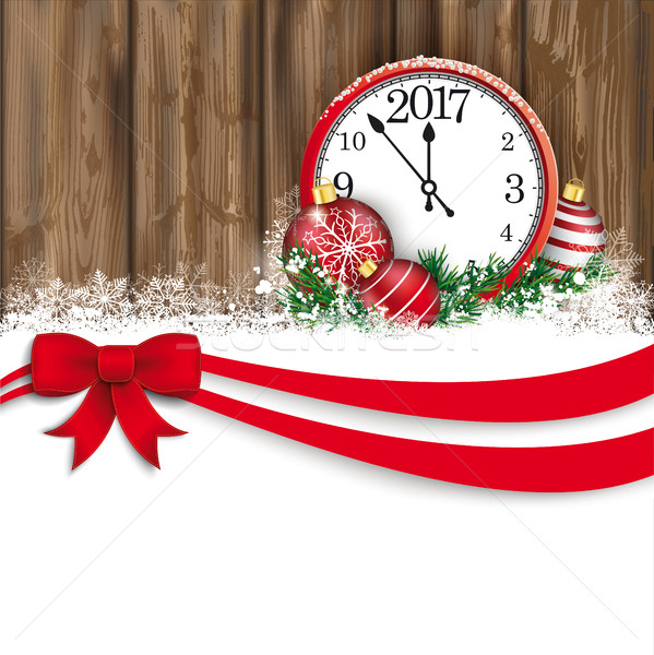 Christmas Red Ribbon Bauble Even Clock 2017 Worn Wood Stock photo © limbi007