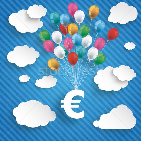 Paper Clouds Striped Blue Sky Balloons Euro Stock photo © limbi007