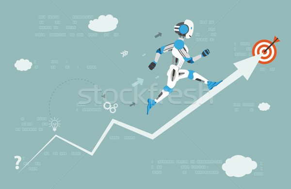 Desenho animado corrida robô dados seta alvo Foto stock © limbi007