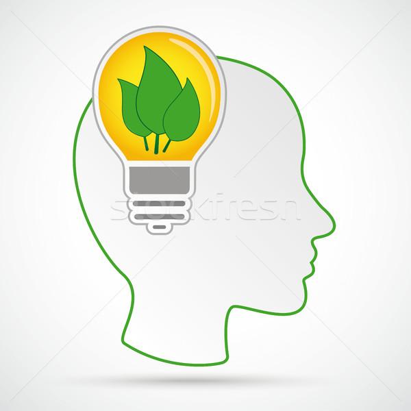 Menselijke hoofd hersenen eco loof Stockfoto © limbi007