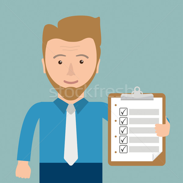 Cartoon Businessman Clipboard Checklist Stock photo © limbi007