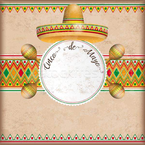 Vintage Cover Mexican Ornaments Emblem Sombrero Maracas Stock photo © limbi007