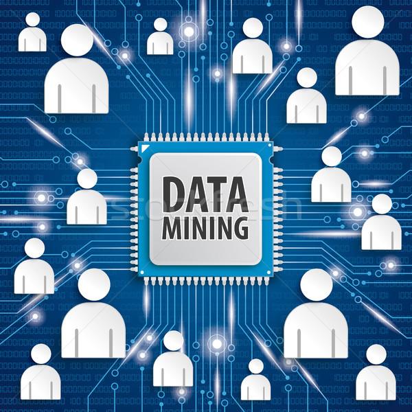 Mikrocsip processzor adat bányászat szöveg kék Stock fotó © limbi007