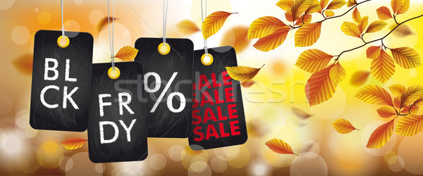 Autumn Black Friday Price Stickers Beech Foliage Header Stock photo © limbi007