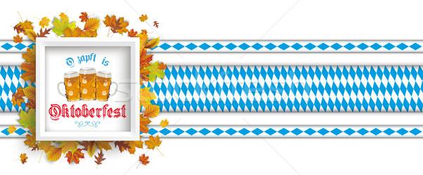 White Frame Autumn Foliage Oktoberfest Header Stock photo © limbi007