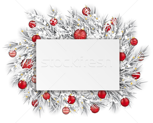 Frozen Twigs Rectangle Paper Thin Ribbon Snow Red Baubles Stock photo © limbi007