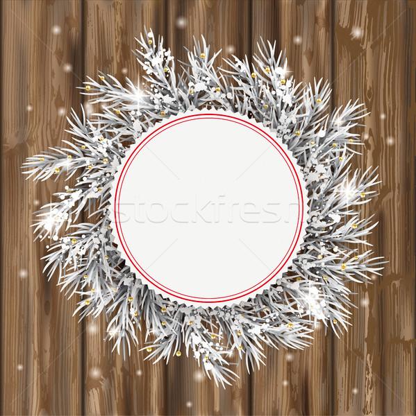 Congelés rouge emblème neige or bois Photo stock © limbi007