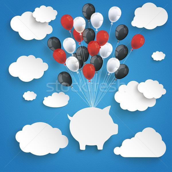 Paper Clouds Striped Sky Balloons Piggy Bank Stock photo © limbi007