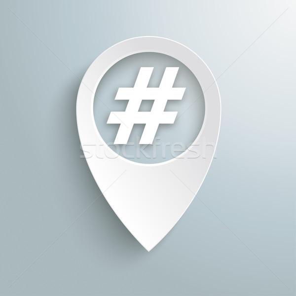 White Location Marker Hashtag Stock photo © limbi007