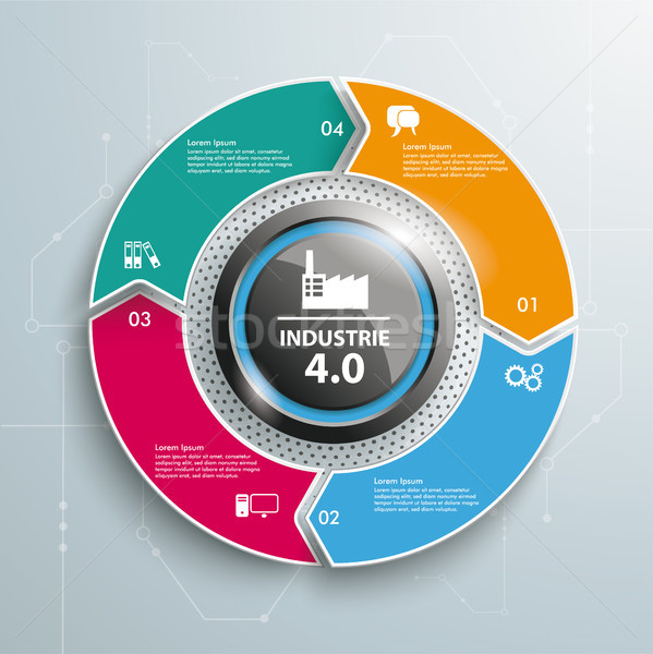 Colored Ring Cycle 4 Options Industrie 4.0 Infographic Stock photo © limbi007