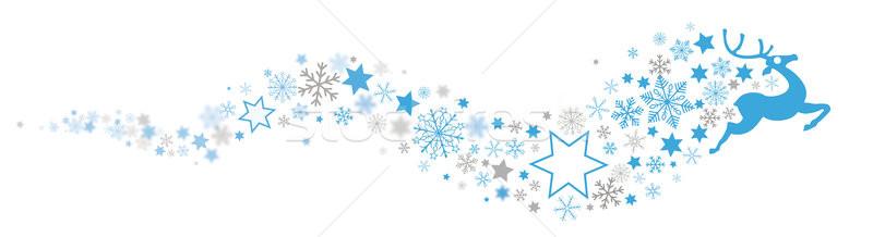 Stock fotó: Rénszarvas · hópelyhek · kék · csillag · por · fejléc
