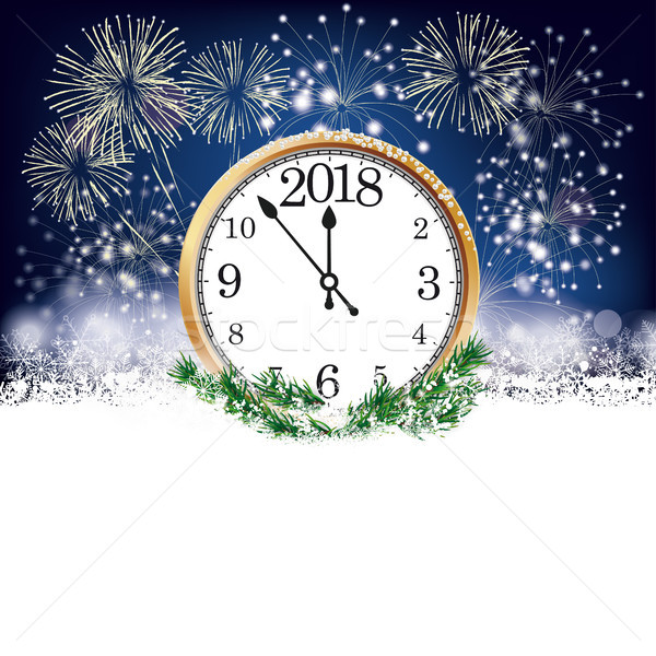 Silvester Clock 2018 Fireworks Stock photo © limbi007