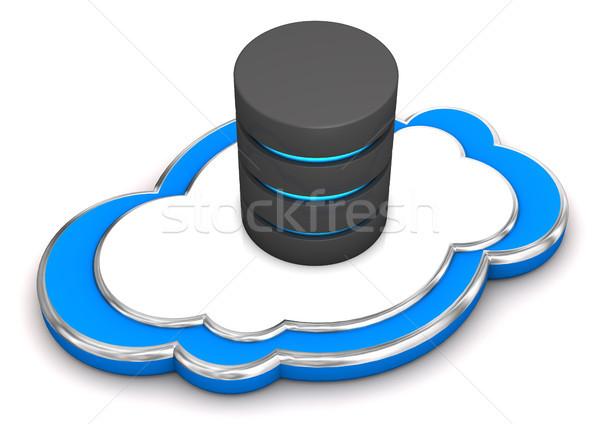 Bulut veritabanı mavi 3d illustration beyaz bilgisayar Stok fotoğraf © limbi007